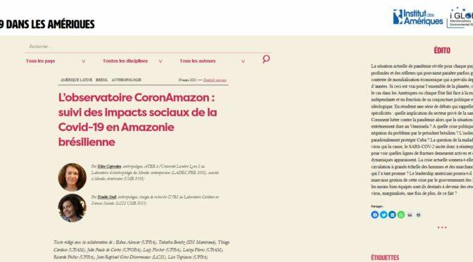 L'observatoire CoronAmazon : suivi des impacts sociaux de la Covid-19 en Amazonie brésilienne